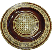 Vintage Wooden Medallion Wall Hanging w/ Inlaid Mother of Pearl Mosaic