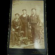"""Antique B&W  """"Sailor in Uniform"""" Cabinet Photograph THWAITES Portland, Oregon"""
