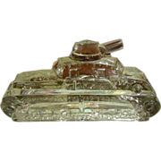 Vintage Clear Glass Tank Candy Container Figurine