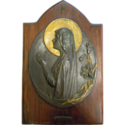 Antique Signed Souvenir Bronze Plate Wall Hanging from Lourdes France Religious Gilded Halo Mother Mary Lilies