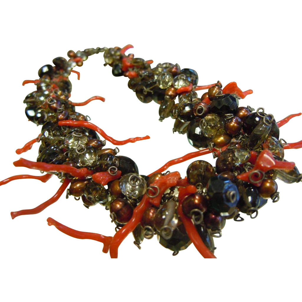 Gorgeous Hand Crafted Cluster Necklace w/ Pearls Coral Crystal Smoky Quartz Faceted Beads