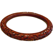 Intricately Carved Floral Design Natural Cinnabar Bangle Bracelet
