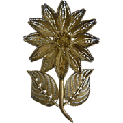 Large Vintage Filigree Sterling Silver Gerber Daisy Brooch Made In Mexico