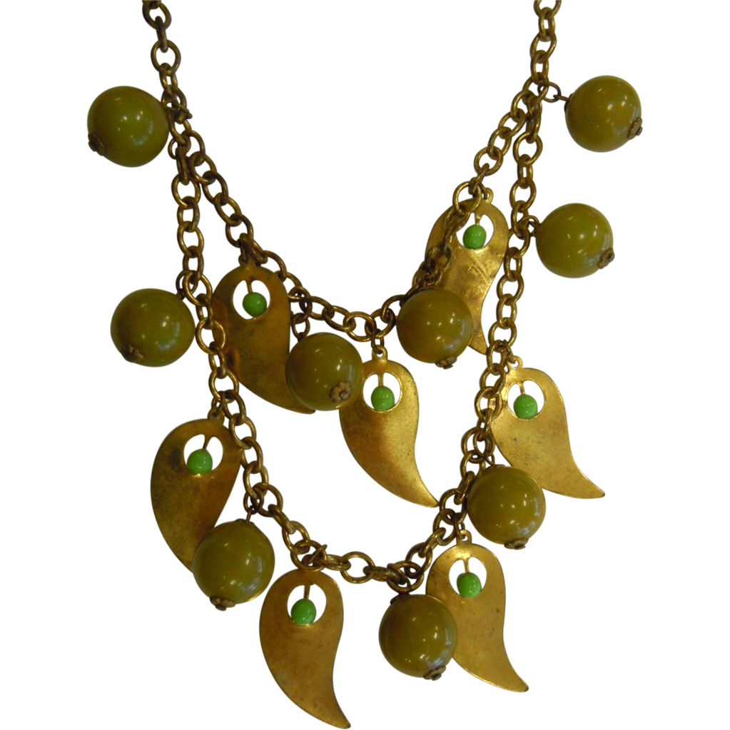 Vintage Multi-Layered Brass Chain Necklace w/ Green Bakelite Beads