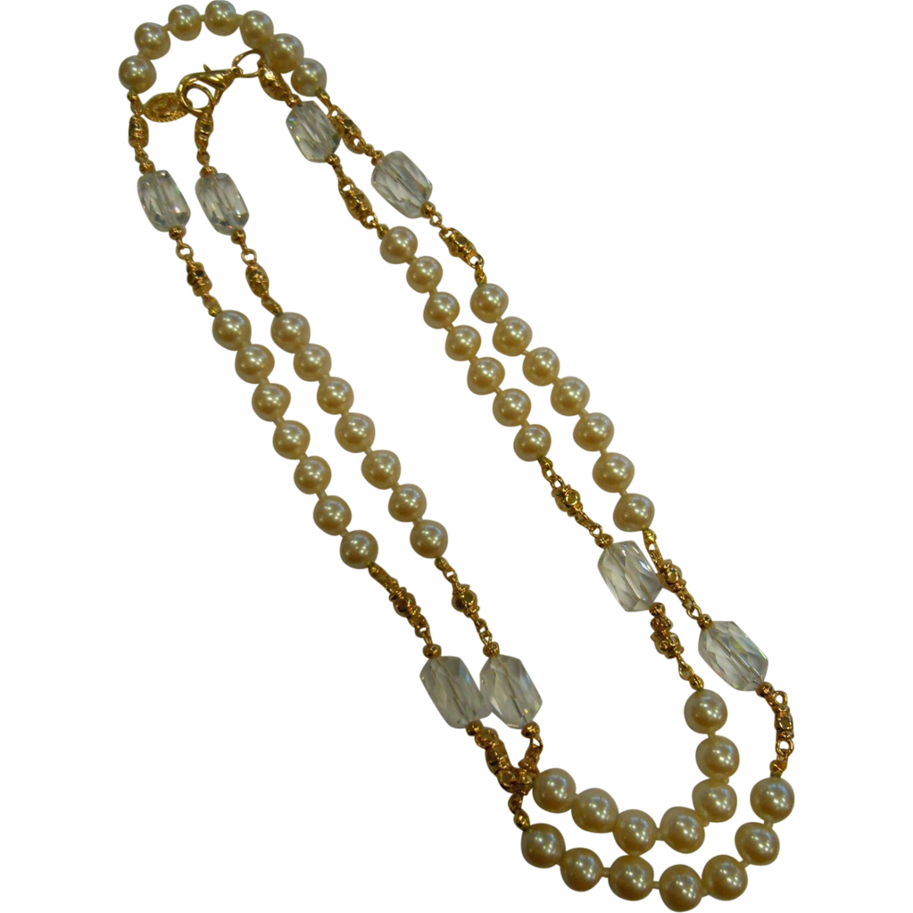 Vintage Saint John Jewelry Super Long Necklace w/ Faux-Pearls & Swarovski Crystals