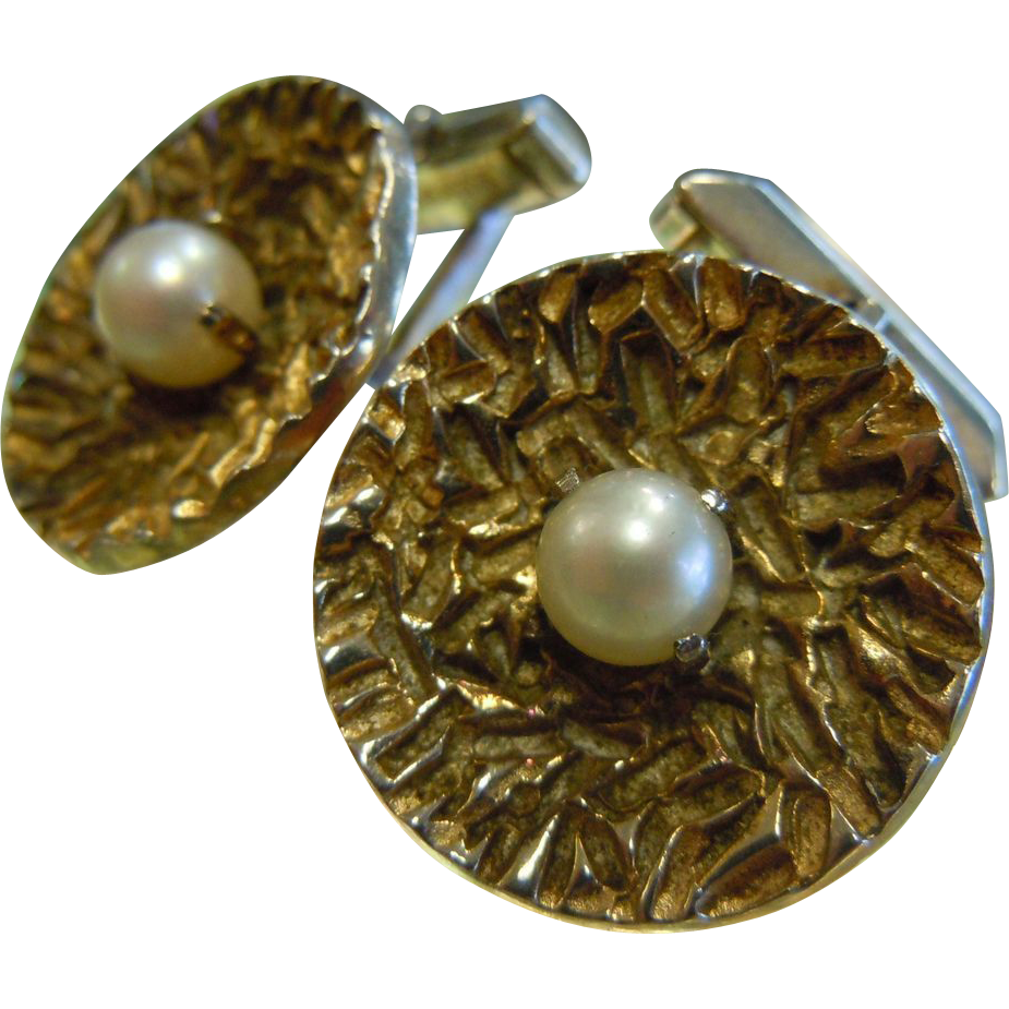 Vintage Sterling Silver Patented Cuff Links w/ Single Pearl