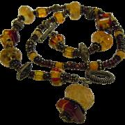 Gorgeous Glass & Gemstone Citrine Garnet Beaded Necklace