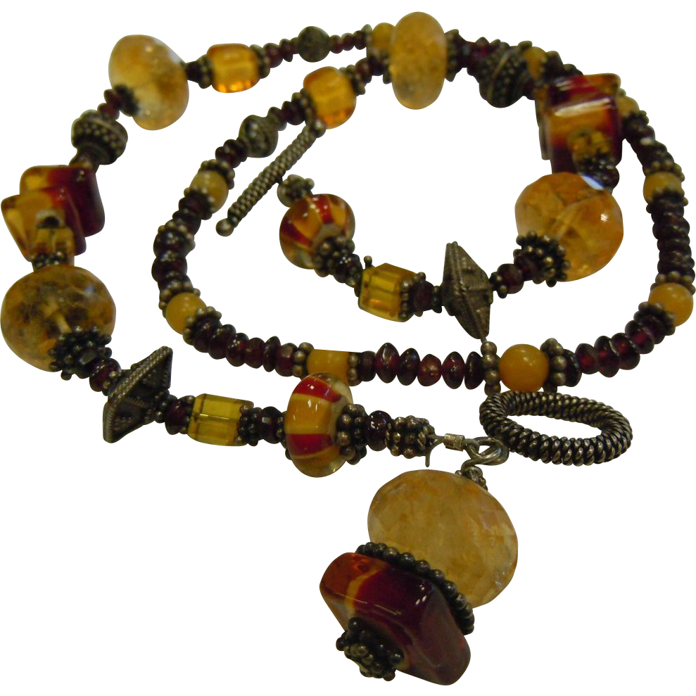 Gorgeous Glass & Gemstone Citrine Garnet Beaded Necklace
