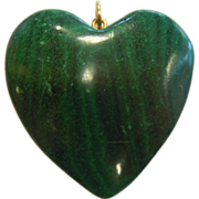 Hand Carved Natural Malachite Stone Heart Pendant