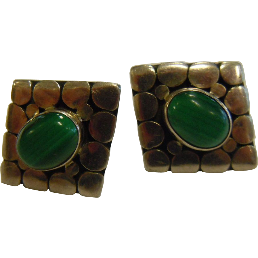 Vintage Sterling Silver Stud Earrings Adorned w/ Natural Malachite
