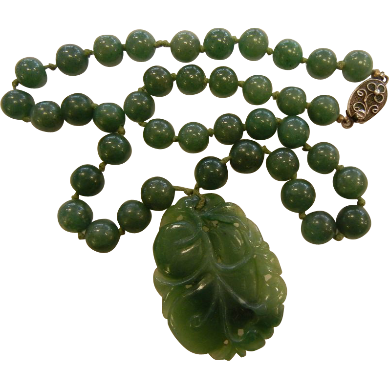 Vintage Natural Stone Beaded Necklace w/ Carved Natural Jade Amulet