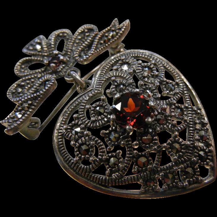 Fine Sterling Silver Heart Pendent Brooch w/ Marcasite & Garnet