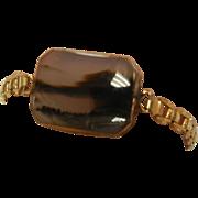Vintage 1966 Sentinel Natural Moss Agate Stone Gold-tone Bracelet