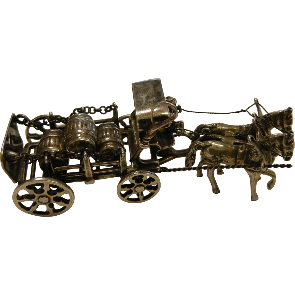 Antique German 835 Silver Horse & Carriage Miniature Signed J&W