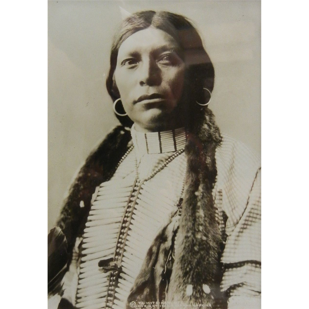 Antique Original B&W Framed Photograph Rose & Hopkins Denver - Native American UTE Chief 1899