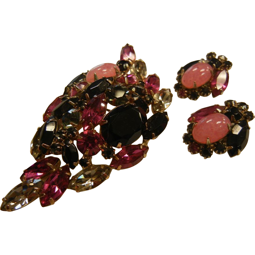Vintage Costume Jewelry Set w/ Pink & Black Glass Rhinestones