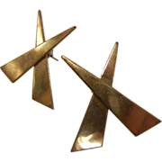 Vintage Modernist Crossed Triangles Mexico Sterling Silver Earrings