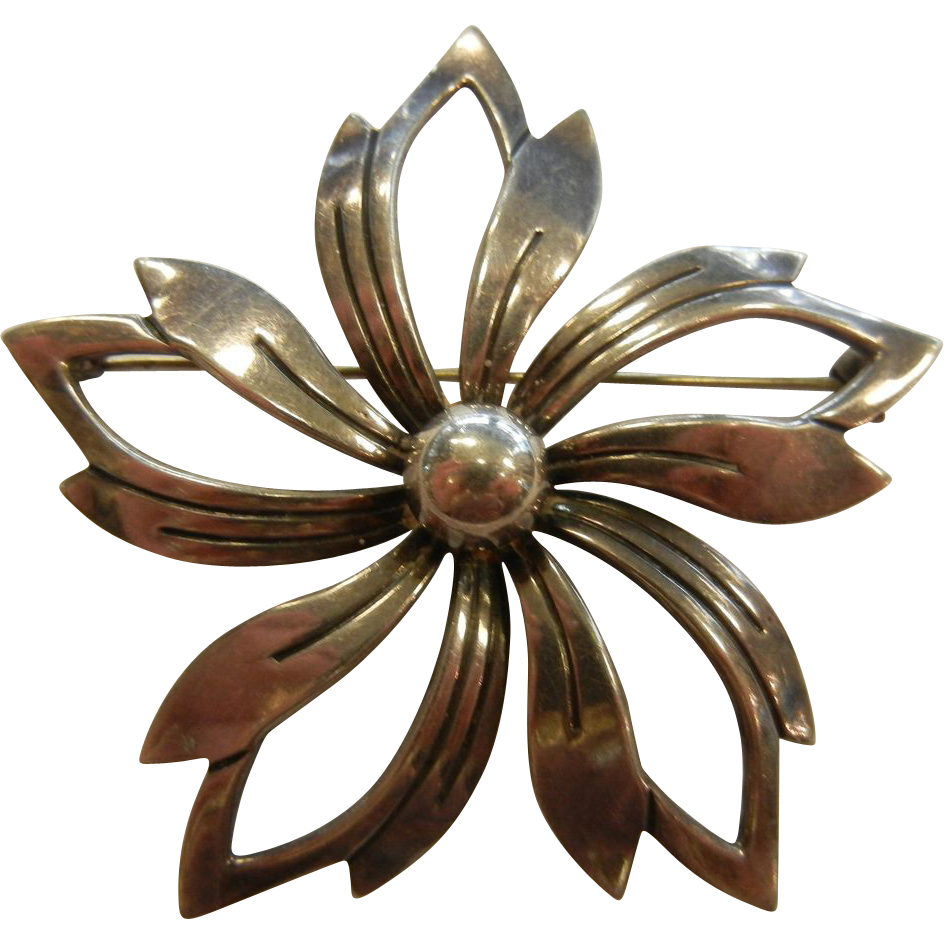 Vintage Sterling Modernist Flower Brooch Signed N.E. FROM Denmark Joseph Mazer