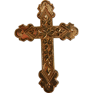 Vintage Gold Filled Cross Pendent Brooch