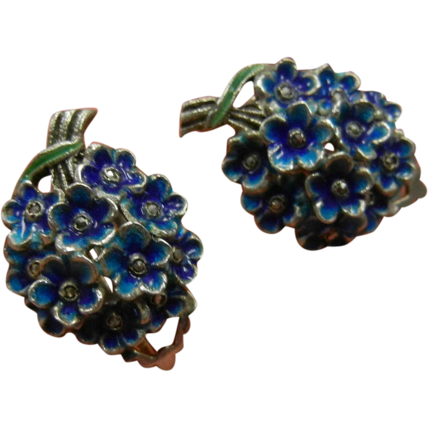 Vintage M-BE Germany Sterling Silver Marcasite Blue Enameled Flower Bouquet Clip Earrings