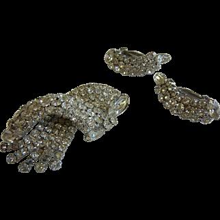 Vintage Clear Rhinestone Costume Jewelry Brooch & Clip Earrings Set