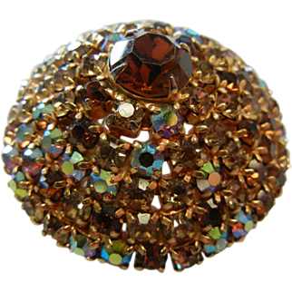 Large Dome-Shape Vintage Brooch w/ Monochromatic Brown Color Crystals