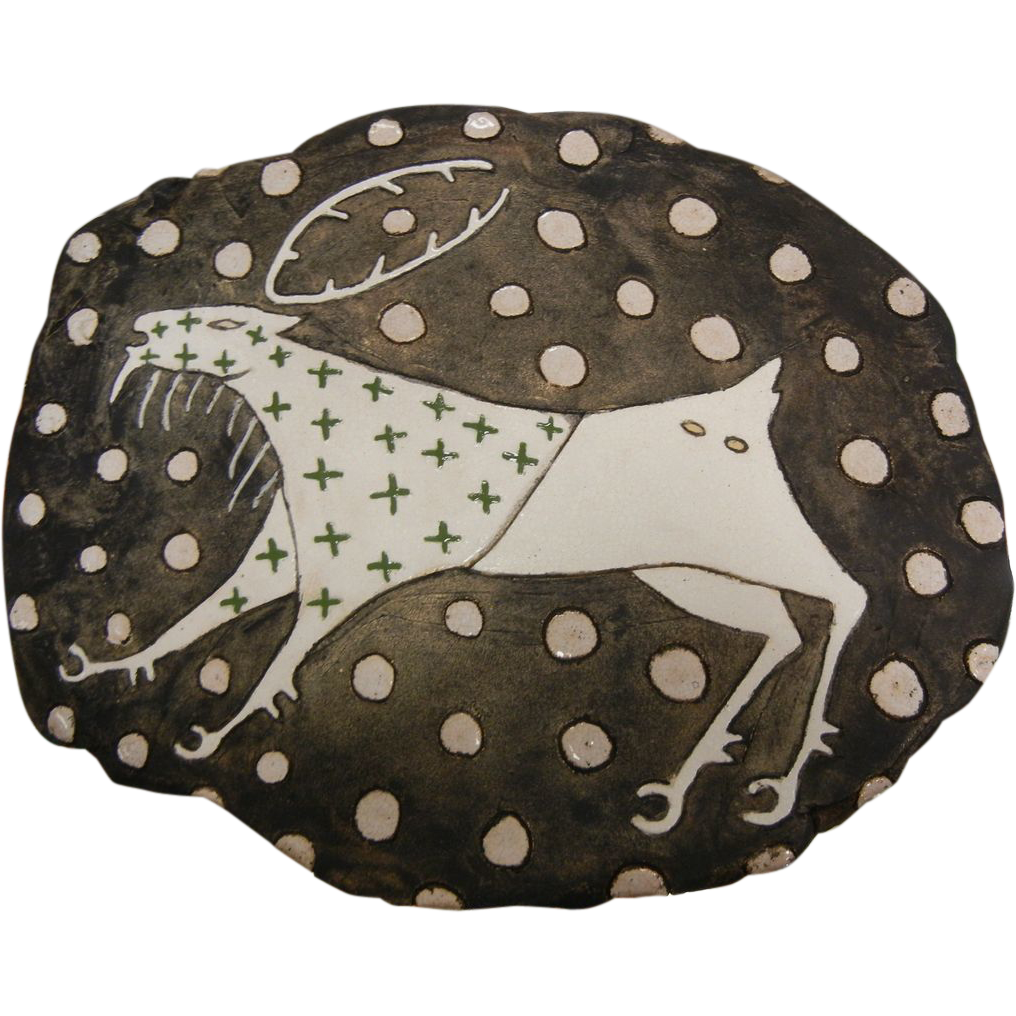 Hand Crafted Original Artist Clay Wall Plaque by PNW Native American Artist - White Stag Motif