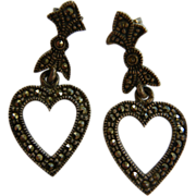 Vintage Marcasite & Sterling Silver Dangling Heart Stud Earrings
