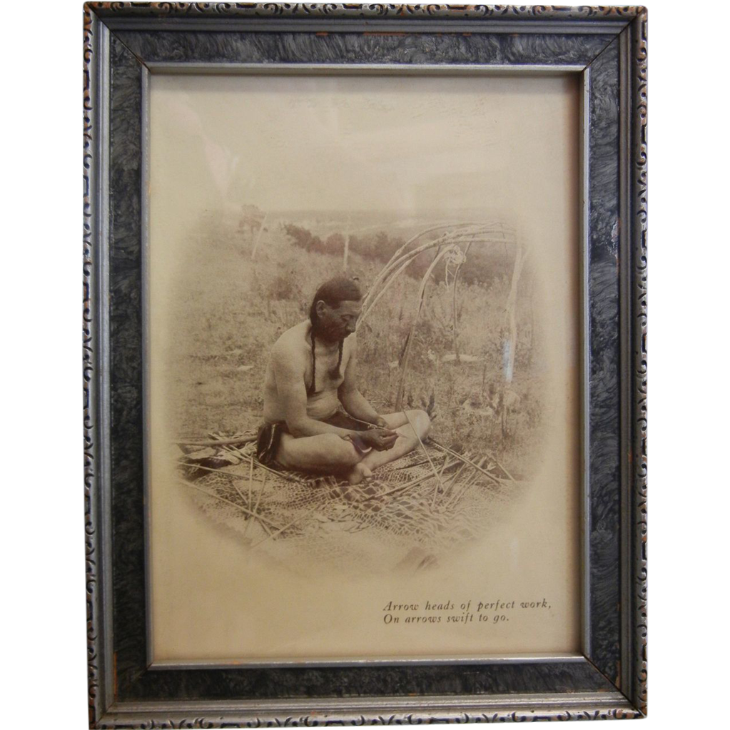"Vintage Framed B&W Native American Photograph ""Arrow heads of perfect work, On arrows swift to go."""