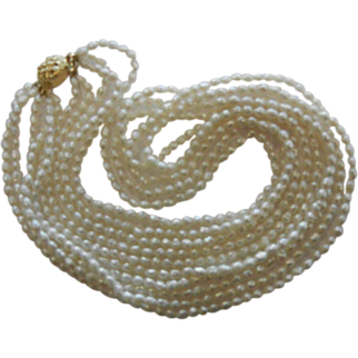 Vintage 5-Stand Cultured Freshwater Pearl Necklace w/ Gilded Silver Clasp
