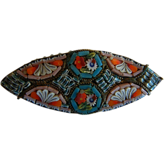 Vintage 1930's Marquis Shaped Micro Mosaic Brooch
