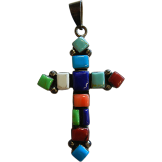 Vintage Sterling Silver Cross Pendent w/ Natural Semi-Precious Stones