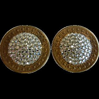 Vintage Richard Kerr Rhinestone Pave Disk Clip Earrings