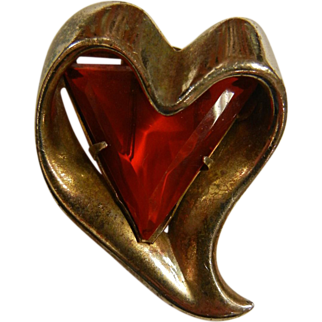 Vintage Heart Shaped Silver-Tone Brooch w/ Red Glass Triangle