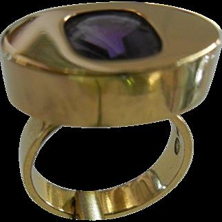 Mid-Century Modern Designer Signed Ring 750 HP