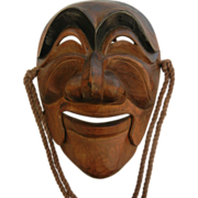 Vintage Japanese Hand Carved Wood Smiling Face Mask w/ Articulated Jaw