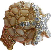 Gold-Tone Summertime Seashell Starfish Stretch Ring