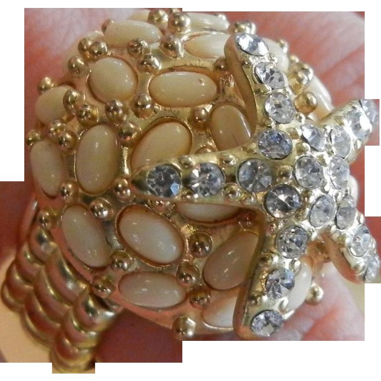 Gold-Tone Summertime Seashell Starfish Stretch Ring