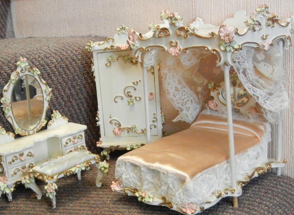 Sweet Vintage German Gilded Floral Wooden Dollhouse