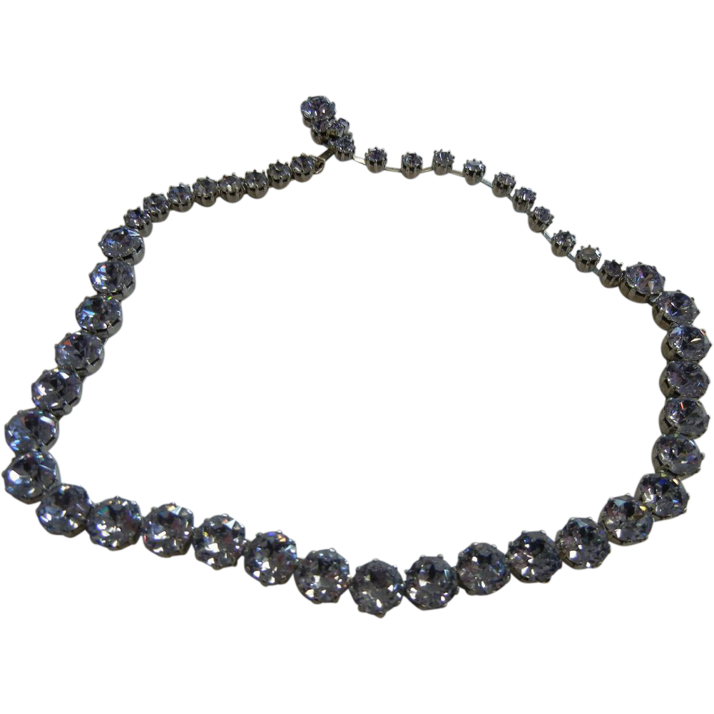Blue Rhinestone Costume Jewelry Choker Necklace