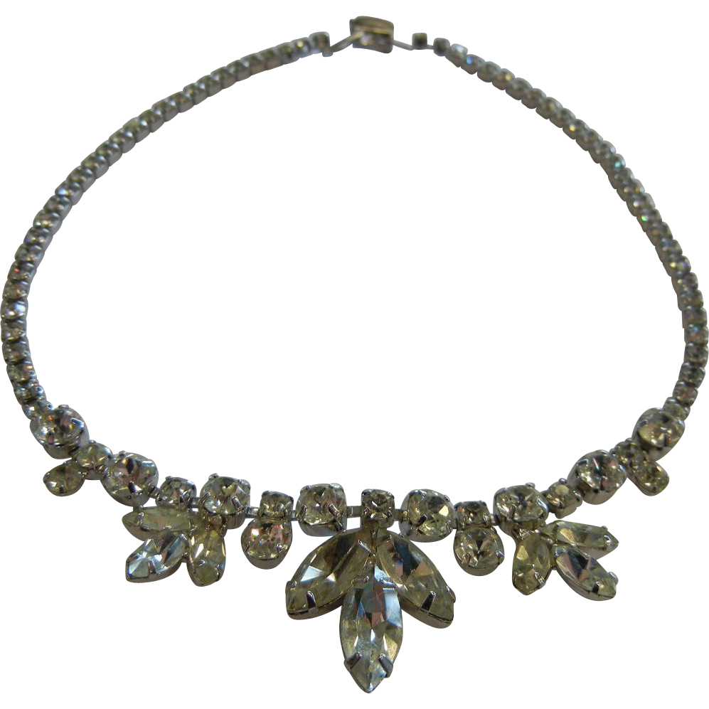 Vintage Rhinestone Costume Jewelry Necklace
