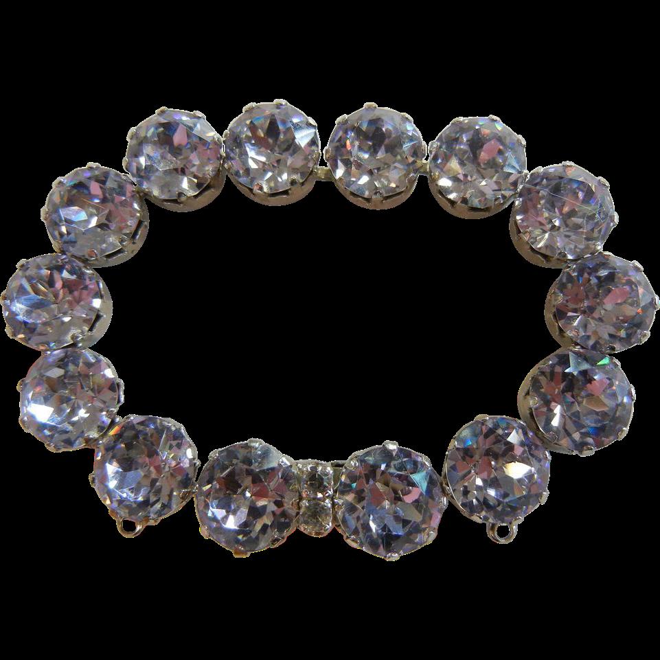 Vintage Blue Rhinestone Costume Jewelry Bracelet Signed Jo-Le