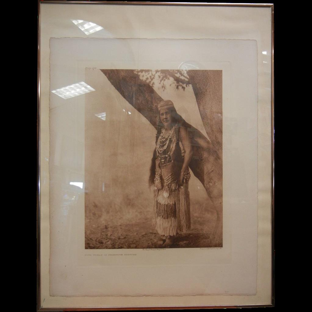 "Original B&W Edward Curtis Photograph 1923 ""Hupa Woman in Primitive Costume"""