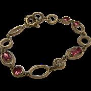 Sterling Silver Link Bracelet w/ Pink & Crystal CZ
