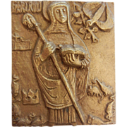 Vintage Brass Plaque of Catholic Saint Gertrude