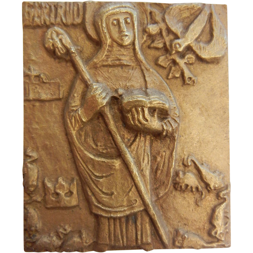 Vintage Brass Plaque of Catholic Saint Gertrude