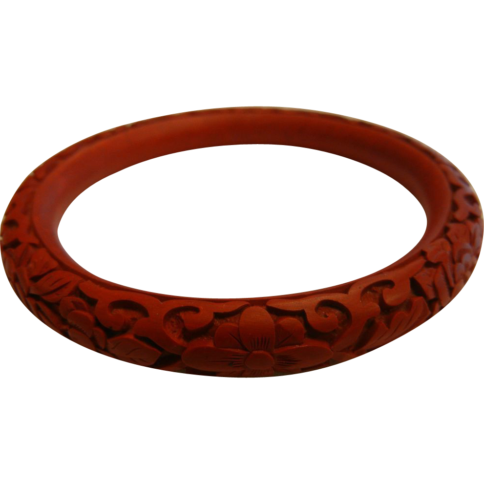 Vintage Carved Red Cinnabar Floral Design Bangle Bracelet