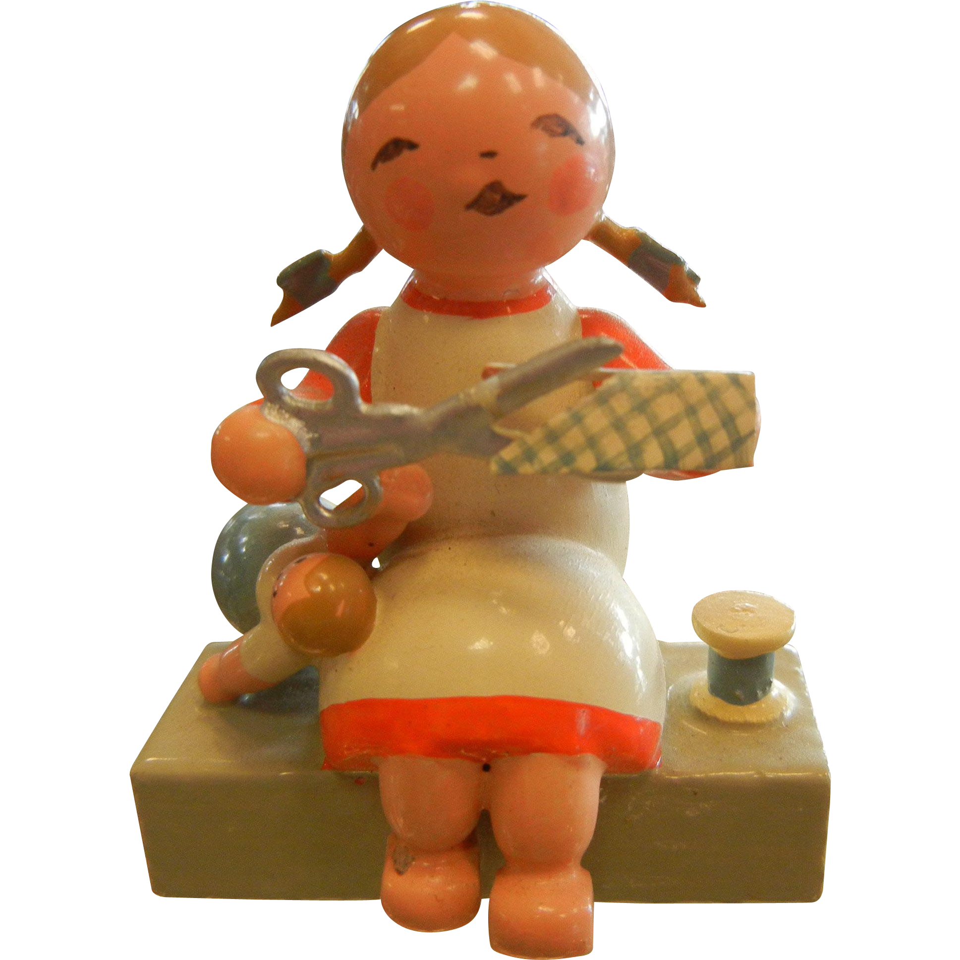 Vintage WUK wood carved German Folk Art Figurine - Child Crafting