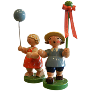 Vintage Set of Two German Wood Carved Erzgebierge Folk Art Figurines - Children & Balloons
