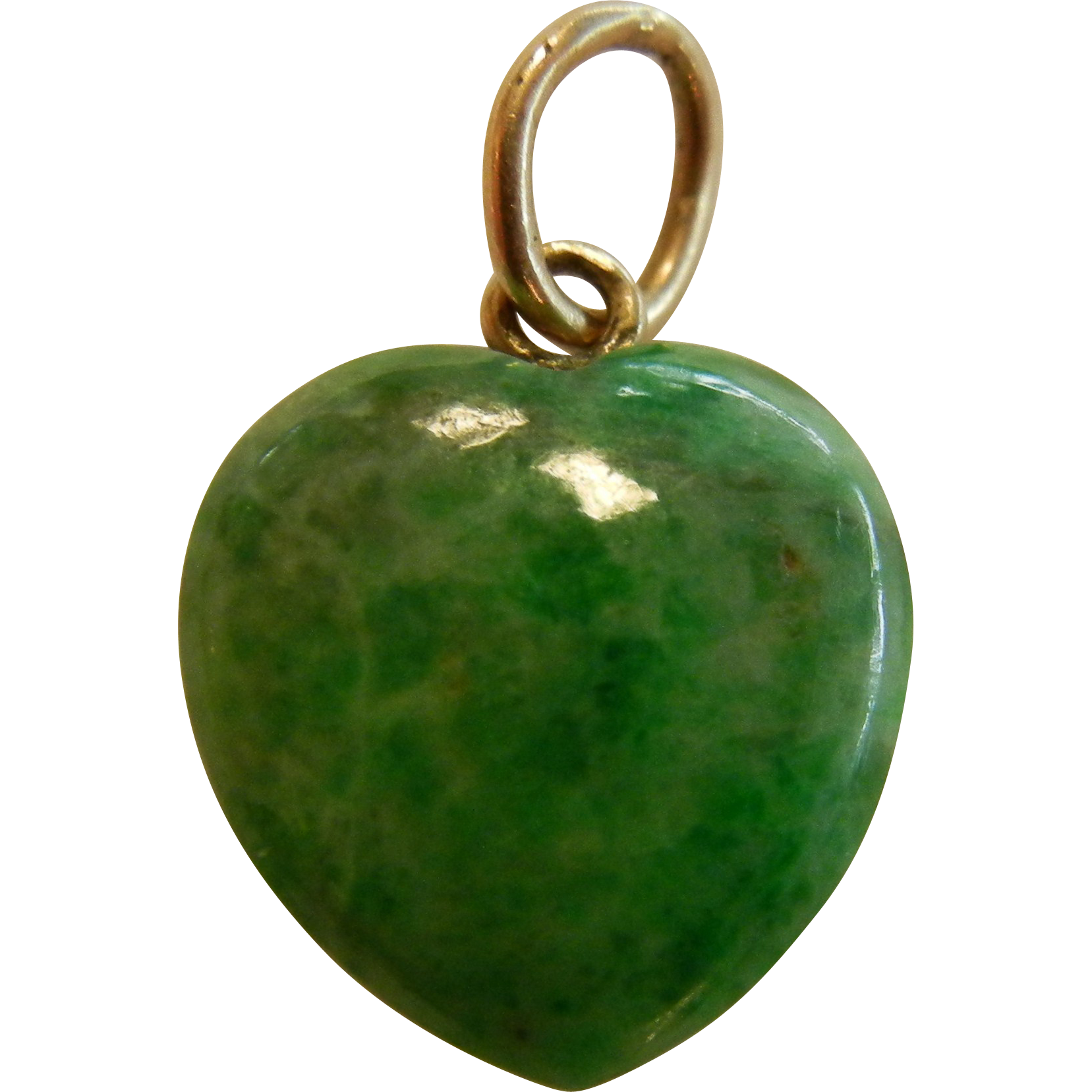Natura Charm: Natural Polished Jade Heart Charm SOLD On Ruby Lane